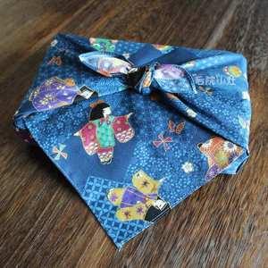 日本制进口布料全棉烫金布和风娃娃蓝色大<span class=H>手帕</span>包袱皮风吕敷52cm