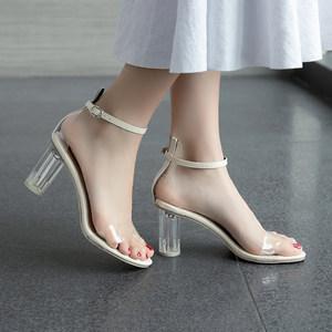 网红同款白色透明<span class=H>凉鞋</span>女夏2019新款百搭韩版粗跟显脚瘦性感高跟鞋