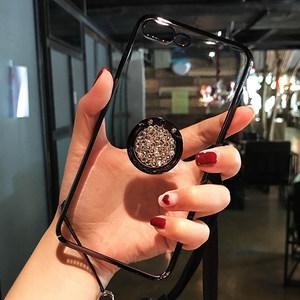 电镀水钻指环支架苹果x/xr/xsmax手机壳xs带挂绳7p全包6s透明<span class=H>?;ぬ?/span>ip8plus新款潮牌女创意个性简约iPhone6s