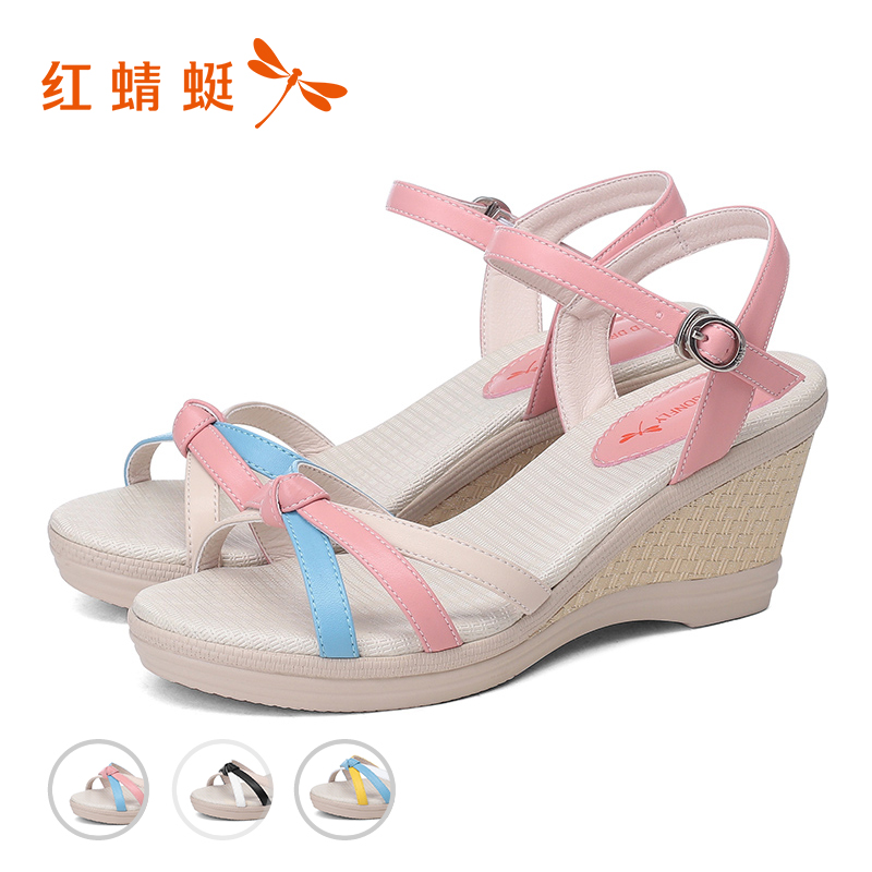 Red summer of female of dragonfly sandals the new style of ascent heel ascent put together to connect a word to take to take to button up women's shoes to break pure Cang of code with thick bottom women's shoes 5 dollars - intl