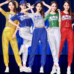 新款爵士舞<span class=H>演出服</span>现代舞蹈<span class=H>服装</span>啦啦操女成人亮片练功表演服舞台装