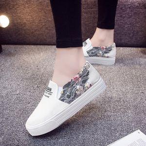 懒人一脚蹬女鞋新款韩版纯色水洗做旧无带休闲百搭平底低帮帆布 9