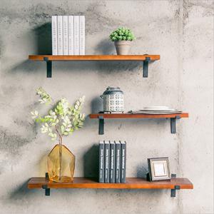 美式复古原木隔板墙上置物架一字壁挂式厨房餐厅搁板装饰实木书架