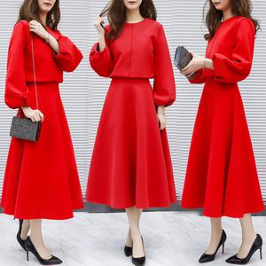2018新款女装春两件套长款高腰灯笼袖连衣裙女长袖裙红色长裙套装