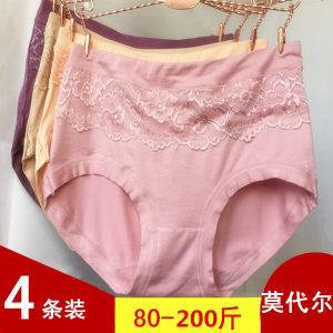 中高腰莫代尔女士<span class=H>内裤</span>比纯棉柔大码胖MM200斤中年妈妈大红色少女