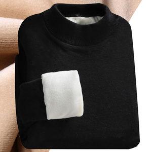 秋冬季半高领<span class=H>毛衣</span>男韩版加绒加厚线衫男士打底衫黑色保暖衣服男潮