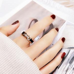欧美风时尚个性日韩国黑色微钻戒指女款<span class=H>食</span><span class=H>指环</span>戒子潮人钛钢装饰品