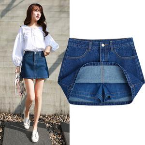 2018夏新款韓版高腰網紅同款半身牛仔裙女深藍色A字短裙包臀褲裙