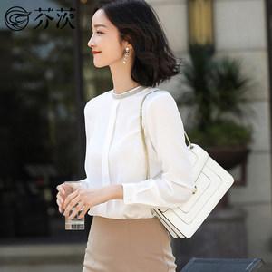 2019春装新款<span class=H>衬衣</span>女韩版宽松刺绣黑色圆领衬衫长袖雪纺小衫上衣