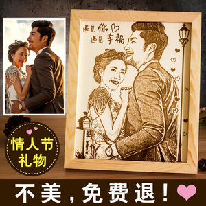 情人节生日礼物送女友男友生闺蜜情侣特别diy创意定制照片木刻画