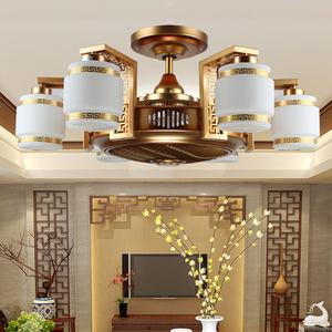 复古中式风扇灯仿古卧室客厅餐厅负离子<span class=H>吊扇</span>灯新中式隐形风扇吊灯