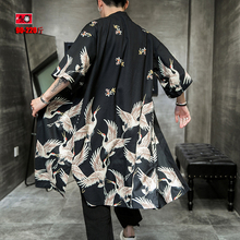 Men's Summer Crane Printed Sunscreen Overcoat Large Scale Cloak Trend Overcoat