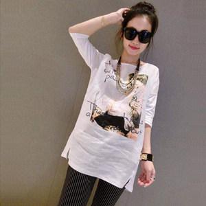 夏季女装欧美竹节棉麻宽松大码显瘦中袖衫中长款白色<span class=H>T恤</span>女裙上衣