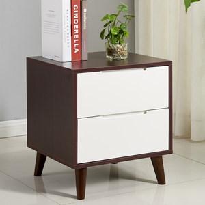 <span class=H>床头柜</span>北欧黑胡桃原木色简约现代经济型边柜三抽实木腿烤漆储物柜