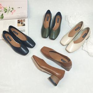 韩版<span class=H>时尚</span>百搭复古奶奶鞋粗跟单鞋女中跟方头软皮浅口工作休闲鞋子