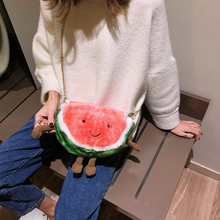 Cute plush buns ins overheated funny buns New Watermelon buns girls chain one-shoulder small bag on 2019