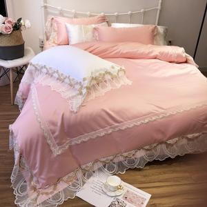 简约纯色全棉四件套公主风蕾丝被套欧式纯棉1.8m米床笠款床上<span class=H>用品</span>