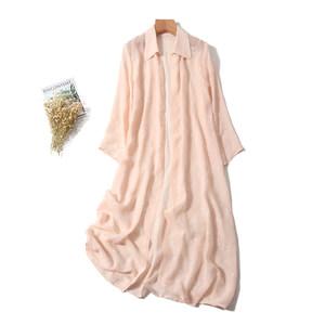19春夏新品粉色刺绣花真丝<span class=H>风衣</span>韩版翻领长袖罩衫桑蚕丝开衫衬衫裙