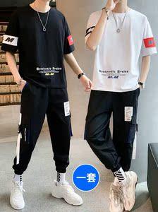 男士短袖t恤套装休闲一套<span class=H>男装</span>2019新款夏季潮牌搭配帅气半袖衣服