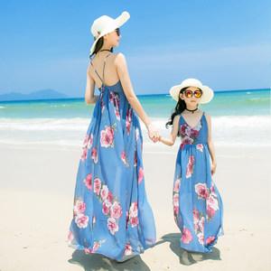 波西米亚母女装海边度假沙滩裙性感漏背亲子连衣裙显瘦雪纺长裙夏