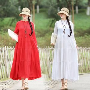 2019春夏新款女装民族风连衣裙复古宽松显瘦长袖拼接纽扣长款<span class=H>裙子</span>