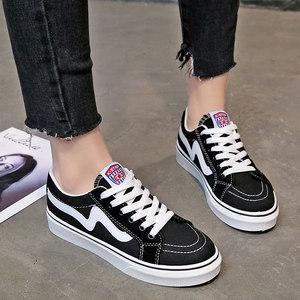 春季初中学生平底帆布鞋子女大童体闲跑步鞋少女运动<span class=H>单鞋</span>黑色板鞋