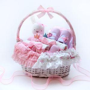 甜美小碎花婴儿礼篮新生儿婴儿衣服公主初生满月<span class=H>礼盒</span>百日宴礼服