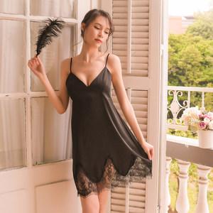 性感吊带睡裙女夏季冰丝蕾丝情趣火辣成人内衣真丝绸女士<span class=H>睡衣</span>薄款