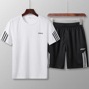 夏季短袖<span class=H>t恤</span>男士套装韩版潮流修身夏天衣服宽松<span class=H>T恤</span>短裤休闲两件套