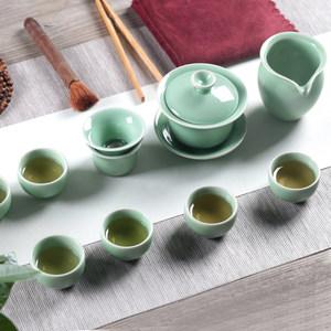 茶具套装家用喝茶龙泉<span class=H>青瓷</span>功夫茶具简约泡茶陶瓷<span class=H>茶壶</span>盖碗茶杯整套