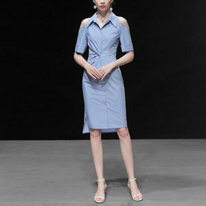 2019夏装新款欧美时尚干练翻领抽褶式收腰修身中长款衬衣裙
