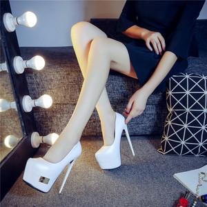 白黑色性感超高跟厚底尖头单鞋女细跟防水台舒适恨天高T台16/12cm