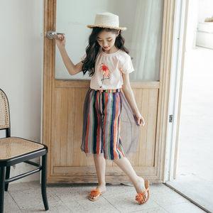 网红女童<span class=H>裤子</span>洋气2019新款套装夏季薄款宽松竖条纹阔腿裤两件套潮