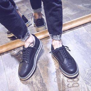 布学生男休闲<span class=H>皮鞋</span>黑色潮鞋洛克韩版雕花圆头潮流英伦内增高鞋鞋子
