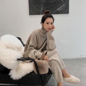 套装女秋冬装2018新款高领毛衣宽松阔腿裤港味休闲针织两件套气质