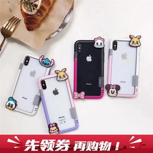 卡通迪士尼公仔边框iphoneX苹果8边套7plus米妮史迪仔6S软壳全包