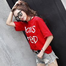 T-shirt Short Sleeve Short-sleeved Women's Summer 2009 Korean Version Loose Red Large Size Fat mm Cotton T-shirt Ladies'Top
