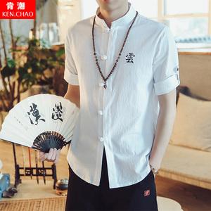 中式唐装汉服衬衫中国风<span class=H>男装</span>五分袖T恤亚麻民族<span class=H>服装</span>青年短袖上衣