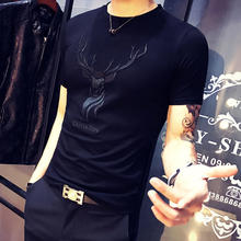 GXG Jmoon Short-sleeved T-shirt Men's New Summer Men's Embroidery Trend Round-collar Cotton Half-sleeve Men's Wear