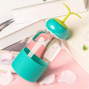 创意手提豆芽菜小草玻璃杯子 男女士学生儿童可爱便携小清新水杯