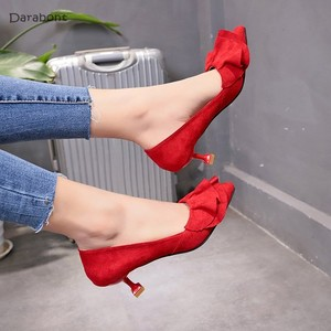 高跟鞋女小根浅口甜美绒面红色婚鞋跟3CM少女工作职业单鞋