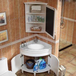 简约小户型三角<span class=H>浴室柜</span>实木橡木落地柜转角柜洗漱台洗脸盆美式台盆