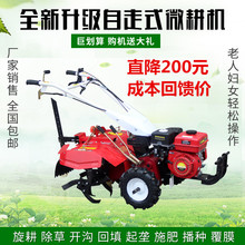 Gasoline air-cooled diesel four-drive micro-tiller Ginger potato orchard furrow cultivation herbicide rotary tiller