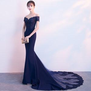 宴会<span class=H>晚礼服</span>2019春夏新款长款修身高贵优雅主持人礼服连衣裙女年会