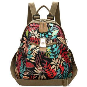 韩版印花牛津布<span class=H>双肩包</span>女2019新款帆布女士背包多用包大容量旅行包