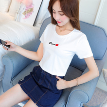 Letter embroidered T-shirt short sleeve pure cotton summer 2019 new Korean version of self-cultivation 100 sets of short jackets ins