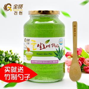 全贤 蜂蜜芦荟茶1kg 韩国原装进口芦荟酱<span class=H>冲饮</span>蜜炼茶果肉饮料 送勺