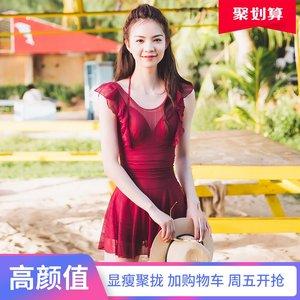 红色连体<span class=H>泳衣</span>女新款裙式蕾丝韩国ins风温泉显瘦遮肚小胸聚拢性感
