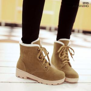 大童冬鞋平底中学生棉鞋加厚绒保暖少女<span class=H>短靴</span>子初中生半桶筒雪地靴