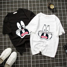 Shu Huijie's New Short-sleeved T-shirt Female Couple Wear Round-collar Explosive Rabbit Short-sleeved Girls Class Clothes for Summer